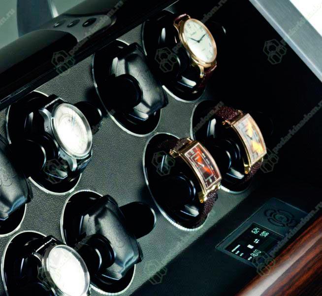 Revolution 12 Ebony Шкатулка для двенадцати часов с автоподзаводом. Бесшумная работа, надежные держатели, имеется три режима вращения, режим быстрого завода, таймер, спящий режим, новейшая система освещения и др..