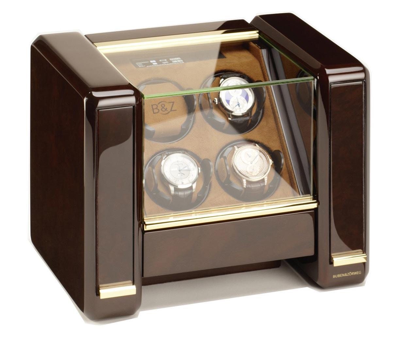 Buben & Zorweg Evolution 4 Шкатулка для автоматических часов от известной немецкой компании с жк экраном. Массив дерева, стекло, велюр цвета Табак.