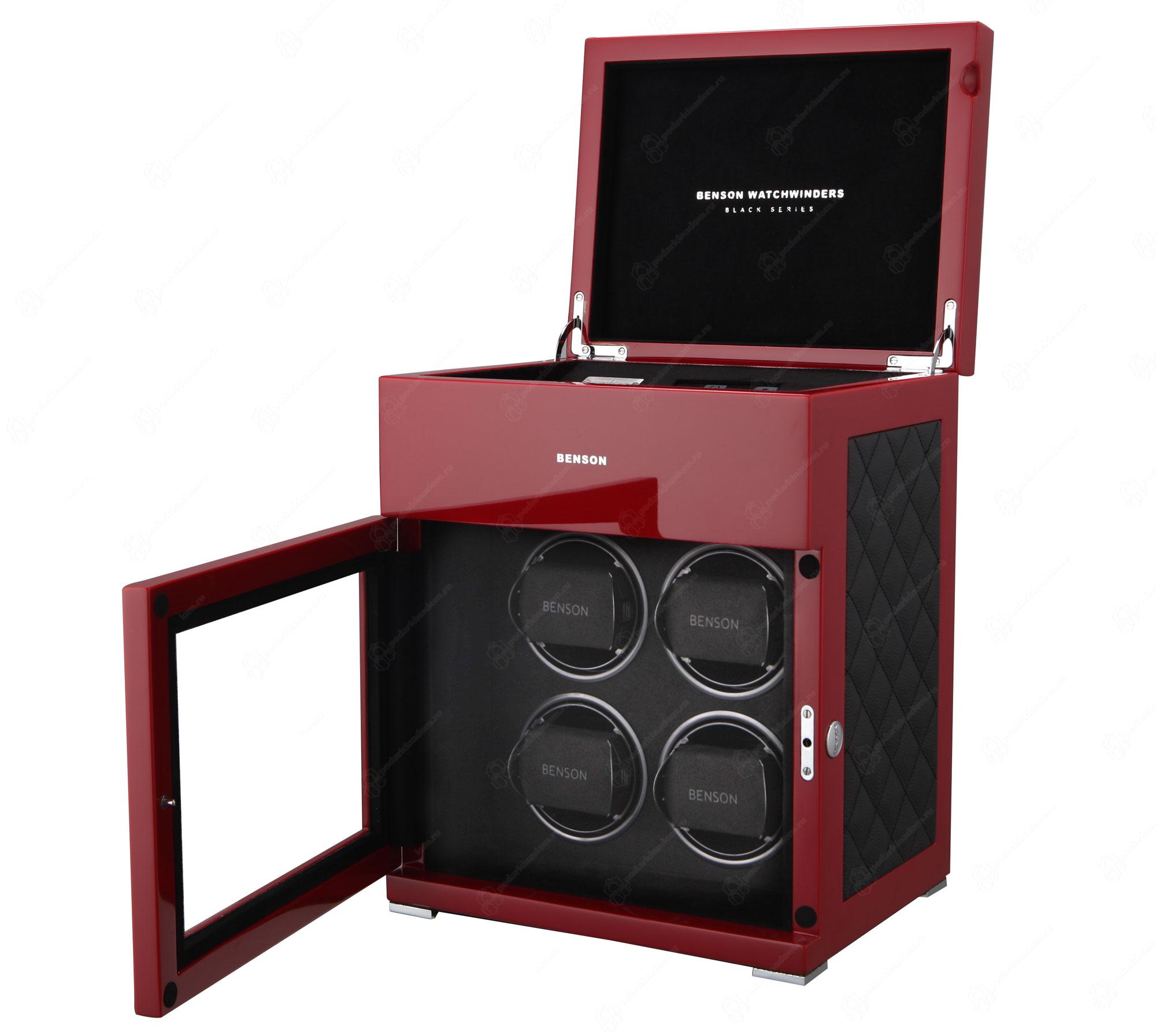 BS4 Red Limited Edition Шкатулка для завода наручных часов. Лимитированная серия 250 шт. Отделка Глянцевый рояльный лак и кожа. Для 4 часов + 3 хранение. Сенсорное управление. Подсветка.