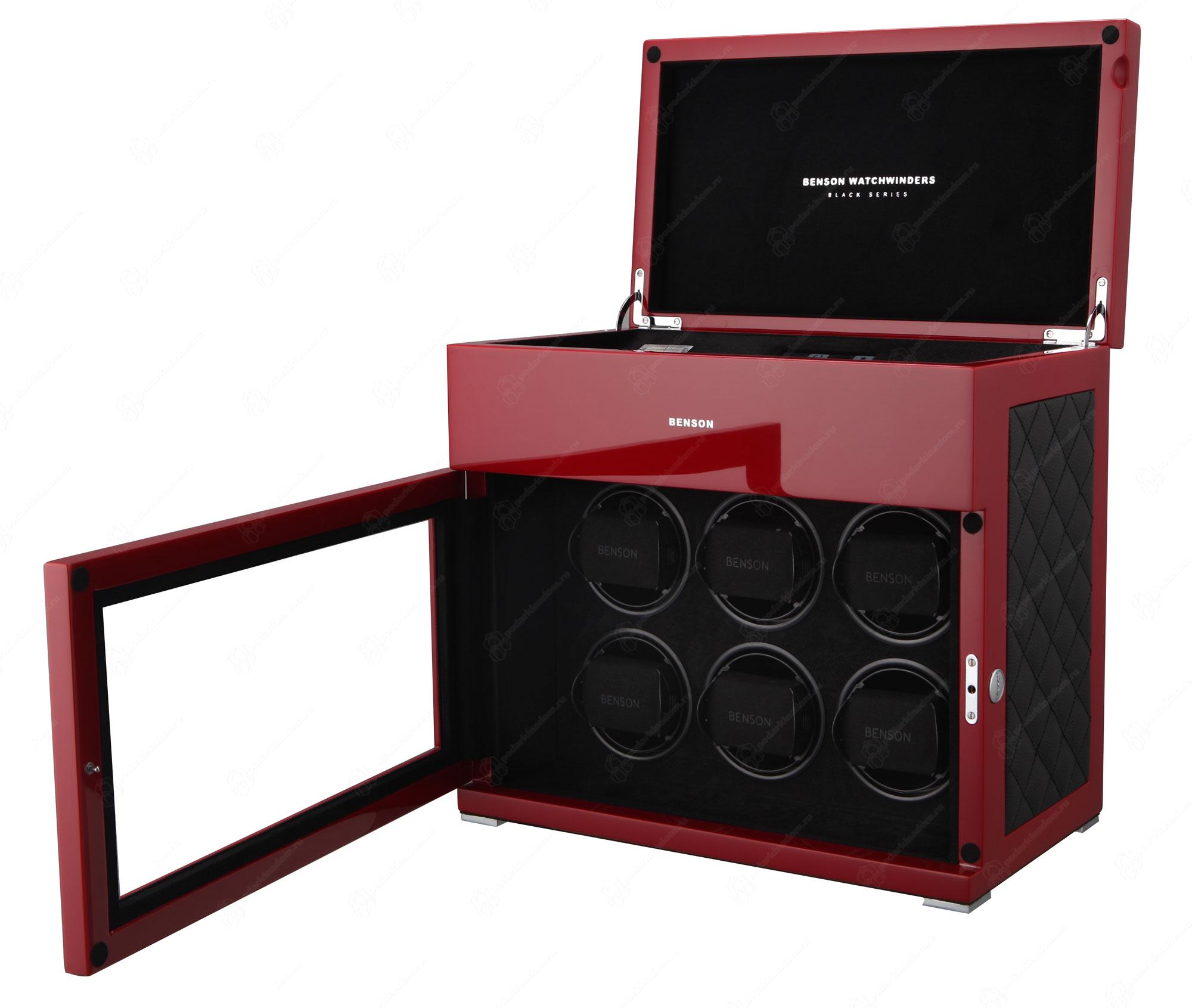BS6 Red Limited Edition Шкатулка для завода наручных часов. Лимитированная серия 250 шт. Отделка Глянцевый рояльный лак и кожа. Для 6 часов + 5 хранение. Сенсорное управление. Подсветка.
