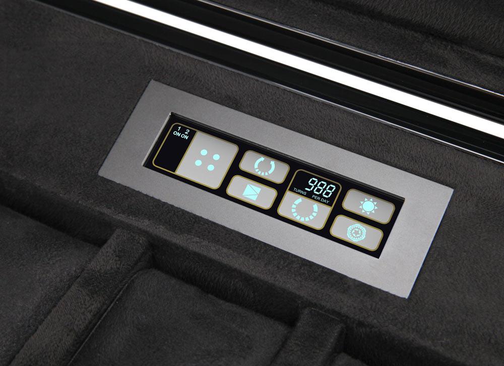 6.16.BU Limited Edition Шкатулка для наручных часов с автоподзаводом. Лимитированная серия 250 шт. Деревянный корпус покрыт глянцевым рояльным лаком. Для 6 часов + 4 хранение. Сенсорный ЖК дисплей. Подсветка.