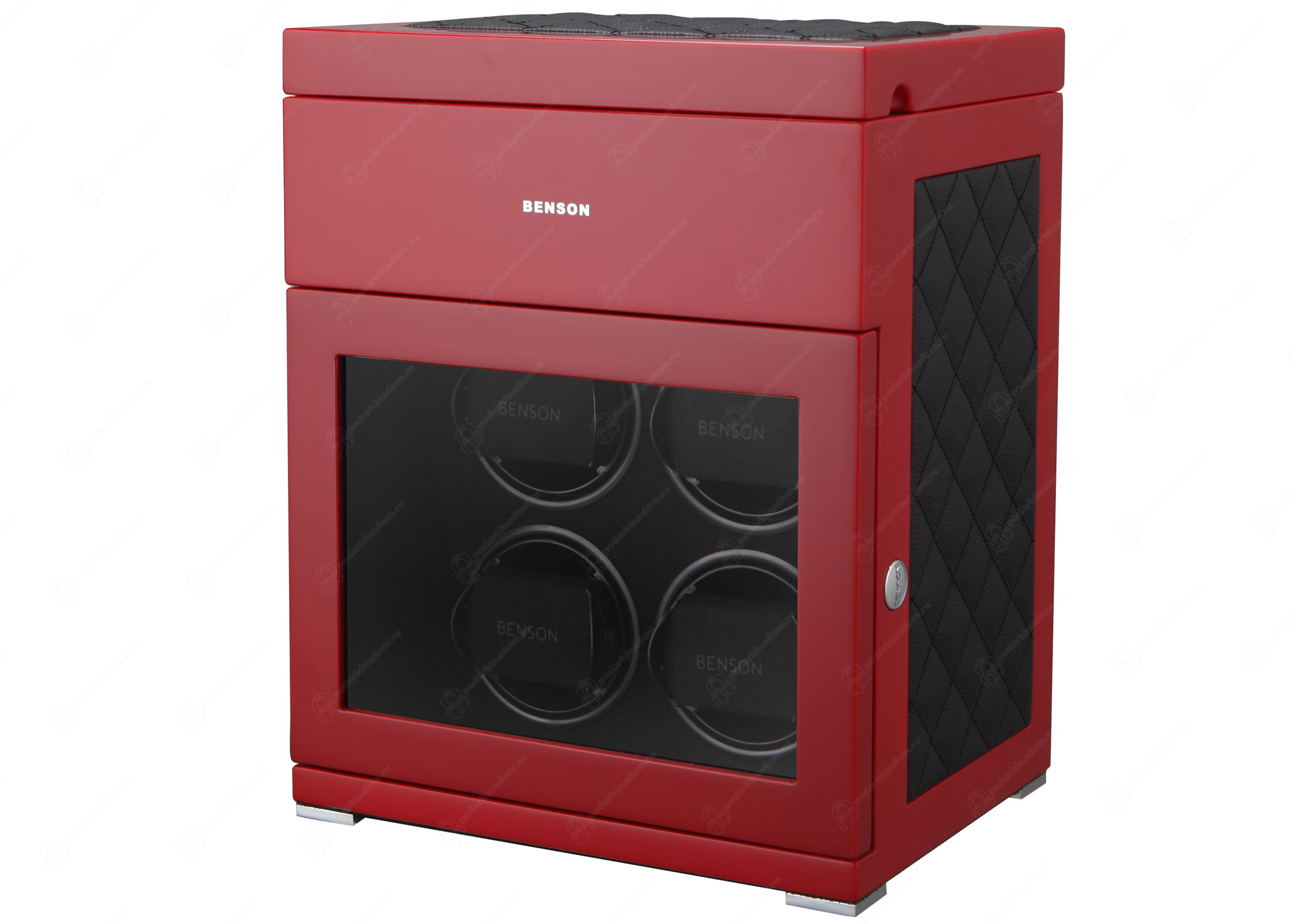 Benson BS4 Red Limited Edition Шкатулка для завода наручных часов. Лимитированная серия 250 шт. Отделка Глянцевый рояльный лак и кожа. Для 4 часов + 3 хранение. Сенсорное управление. Подсветка.