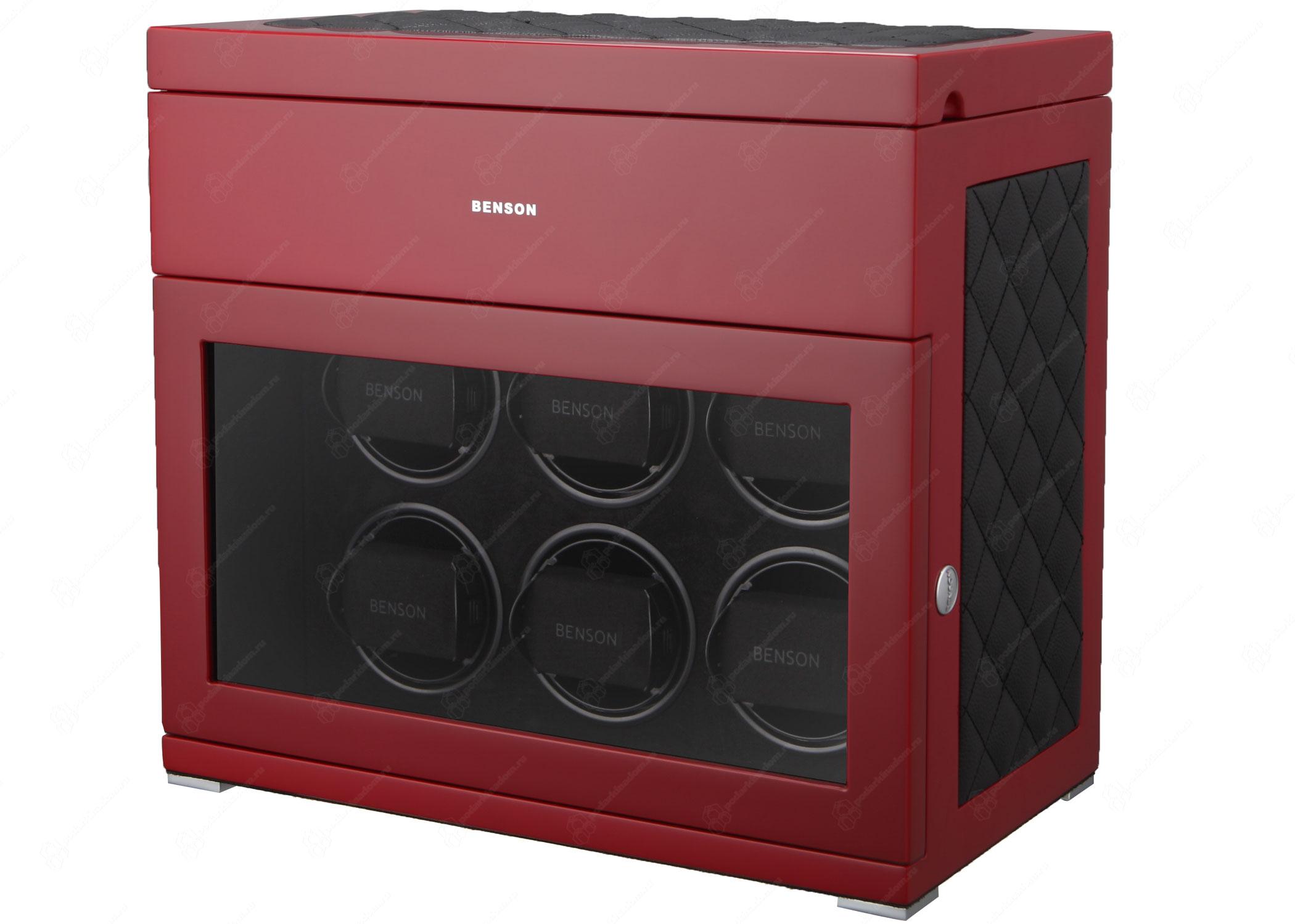 Benson BS6 Red Limited Edition Шкатулка для завода наручных часов. Лимитированная серия 250 шт. Отделка Глянцевый рояльный лак и кожа. Для 6 часов + 5 хранение. Сенсорное управление. Подсветка.