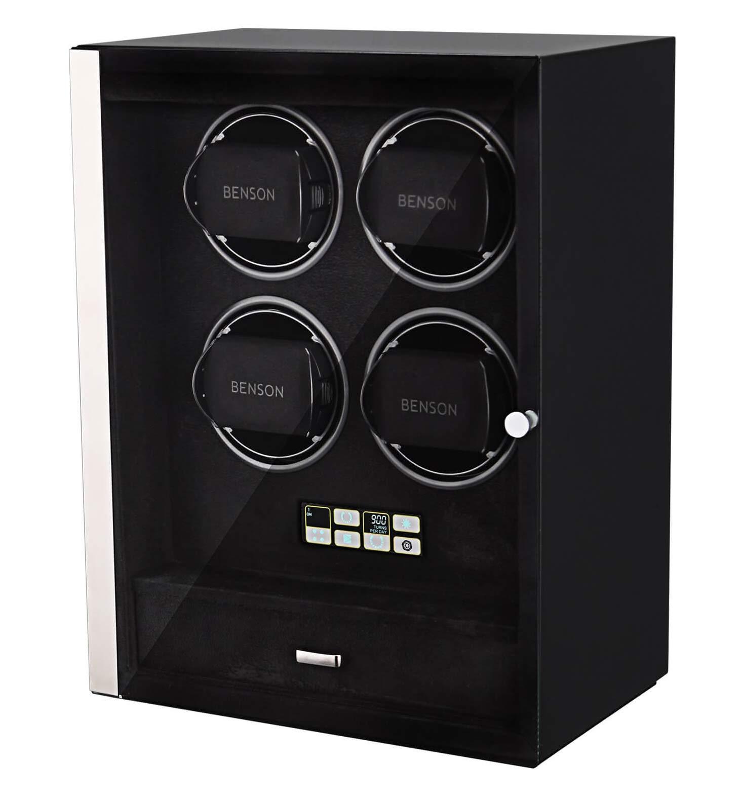 Benson 4.18B Smart-Tech Деревянная шкатулка для 4 часов с автоподзаводом. ЖК дисплей, светодиодная подсветка.