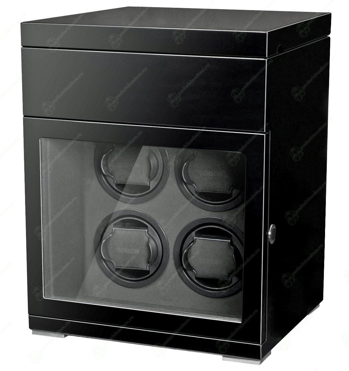 Benson 4.16.B Деревянная шкатулка черного цвета для завода 4 наручных часов и с отделением для  хранения