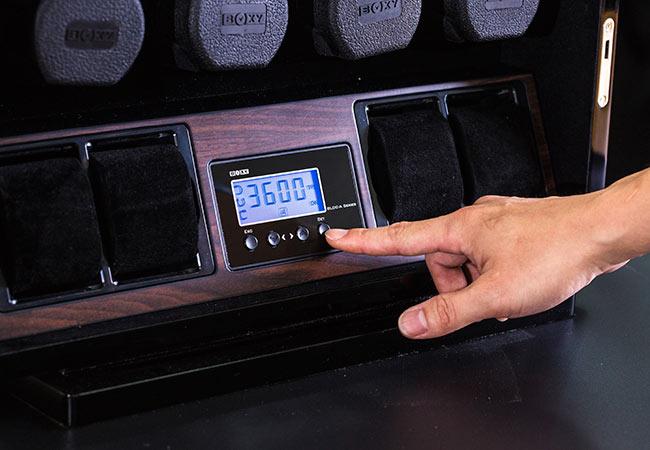 BLDC 04 Шкатулка для автоподзавода 4 наручных часов и 4 отделения для статического хранения часов. Деревянный корпус. Отделка Макассар