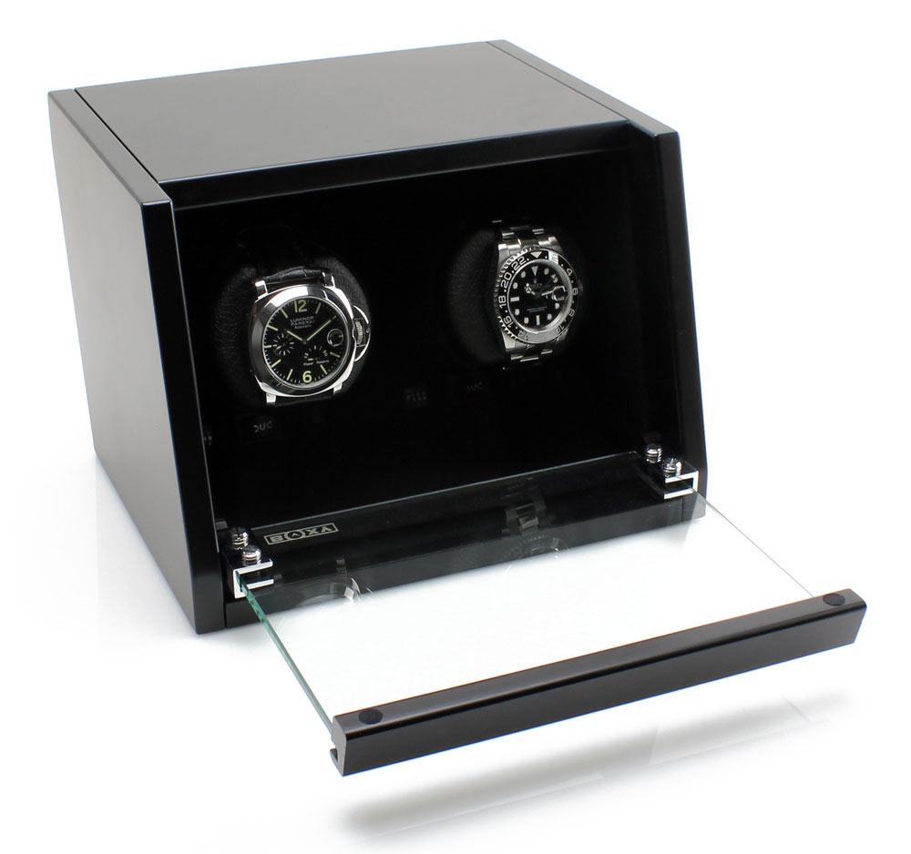 CA02 Шкатулка для подзавода двух механических часов. Оснащена автоматической светодиодной подсветкой. Работает только от сети.