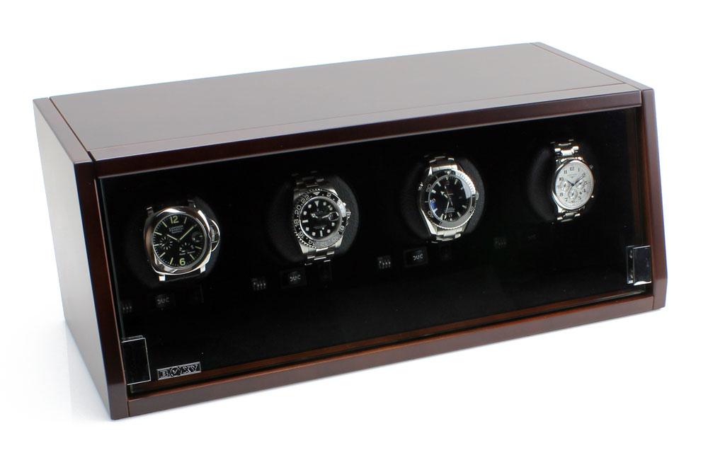 CA-04 brown Шкатулка для завода 4 наручных часов. Оснащена автоматической светодиодной подсветкой. Работает только от сети.
