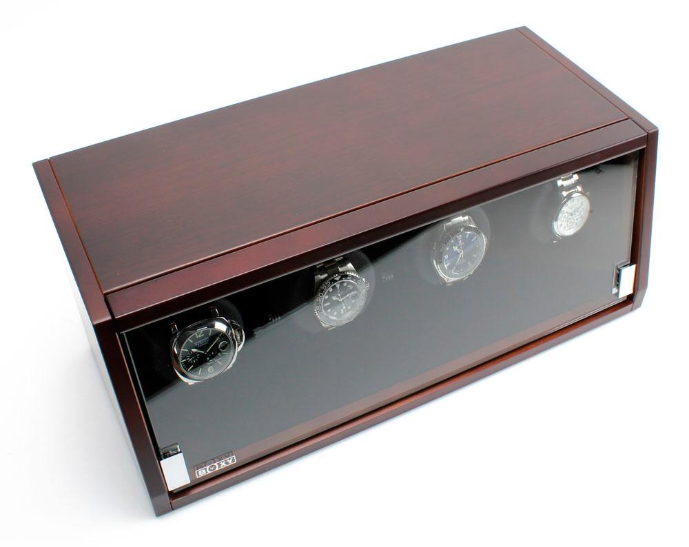 BOXY CA-04 brown Шкатулка для завода 4 наручных часов. Оснащена автоматической светодиодной подсветкой. Работает только от сети.
