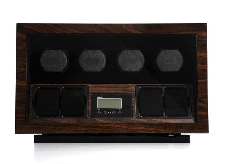 BOXY BLDC 04 Шкатулка для автоподзавода 4 наручных часов и 4 отделения для статического хранения часов. Деревянный корпус. Отделка Макассар