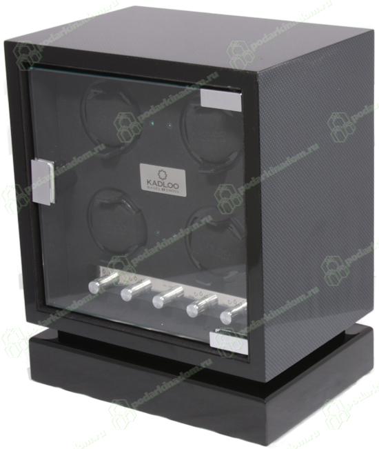 11504-CF Шкатулка для часов с автоматическим заводом. Cube 4 CARBON. Независимые моторы позволяют индивидуально заводить часы. Светодиодная подсветка. Отделка карбон.