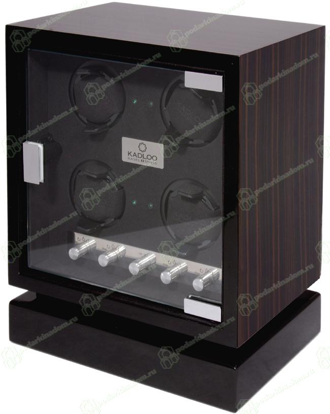 KadLoo 11504-MA Шкатулка для часов с автоматическим заводом. Cube 4 Makassar. Независимые моторы позволяют индивидуально заводить часы. Светодиодная подсветка. Отделка макассар.