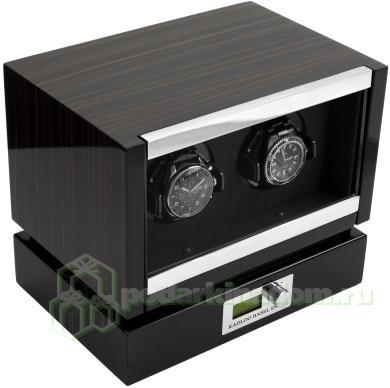 KadLoo Panamerica II macassar Модуль для подзавода двух механических часов. Современный дизайн и отделка макассар, в совокупности с немецким качеством и надежностью, делают ее одной из самых популярных шкатулок для подзавода часов