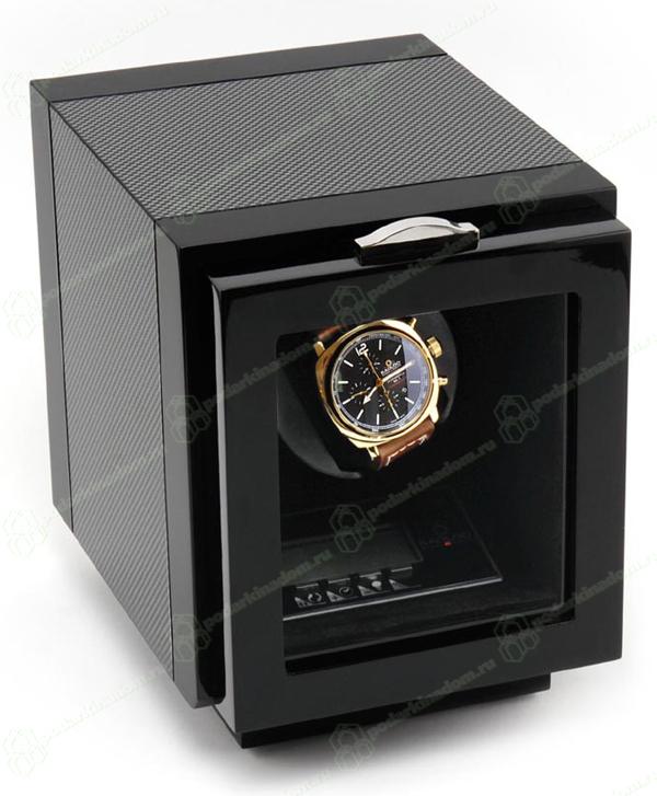 KadLoo SMARTOLI UNO Бокс для подзавода 1 часов из карбона с жидкокристаллическим экраном, с подсветкой и возможностью выбора количества оборотов в сутки