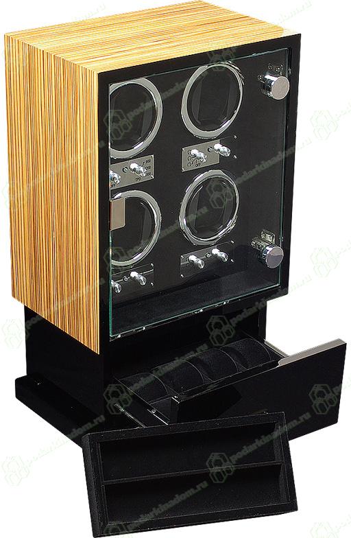 LDT-104ZE Шкатулка для 4 автоматических часов с автоподзаводом. Так же обладает местом для хранения 8 часов и ювелирных украшений. Надежный механизм в изящном корпусе, отличный выбор для Ваших часов