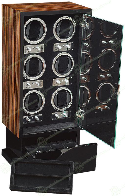 LDT-106EB Шкатулка для подзавода 6 механических часов и хранения 8 часов. Обладает выдвижным ящичком для хранения аксессуаров. Каждая ячейка в шкатулке независима и может подзаводить часы по индивидуальной программе