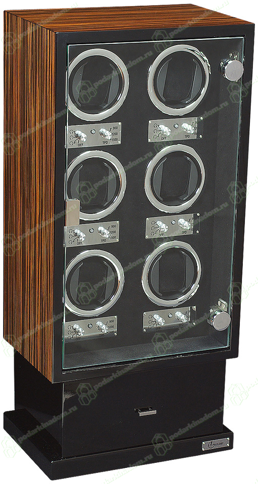 Linea del Tempo LDT-106EB Шкатулка для подзавода 6 механических часов и хранения 8 часов. Обладает выдвижным ящичком для хранения аксессуаров. Каждая ячейка в шкатулке независима и может подзаводить часы по индивидуальной программе