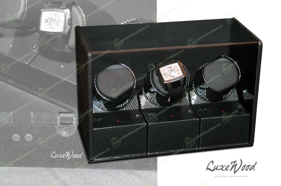 LW203 Шкатулка с автоподзаводом для трех часов, пластик темно-серого цвета, работает от сети и на батарейках