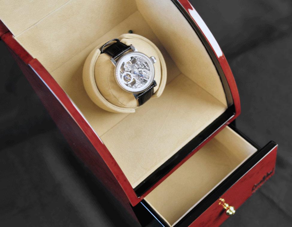 LW321-3 Шкатулка для автоподзавода 1 часов, цвета орех с выдвижным ящиком для хранения драгоценностей