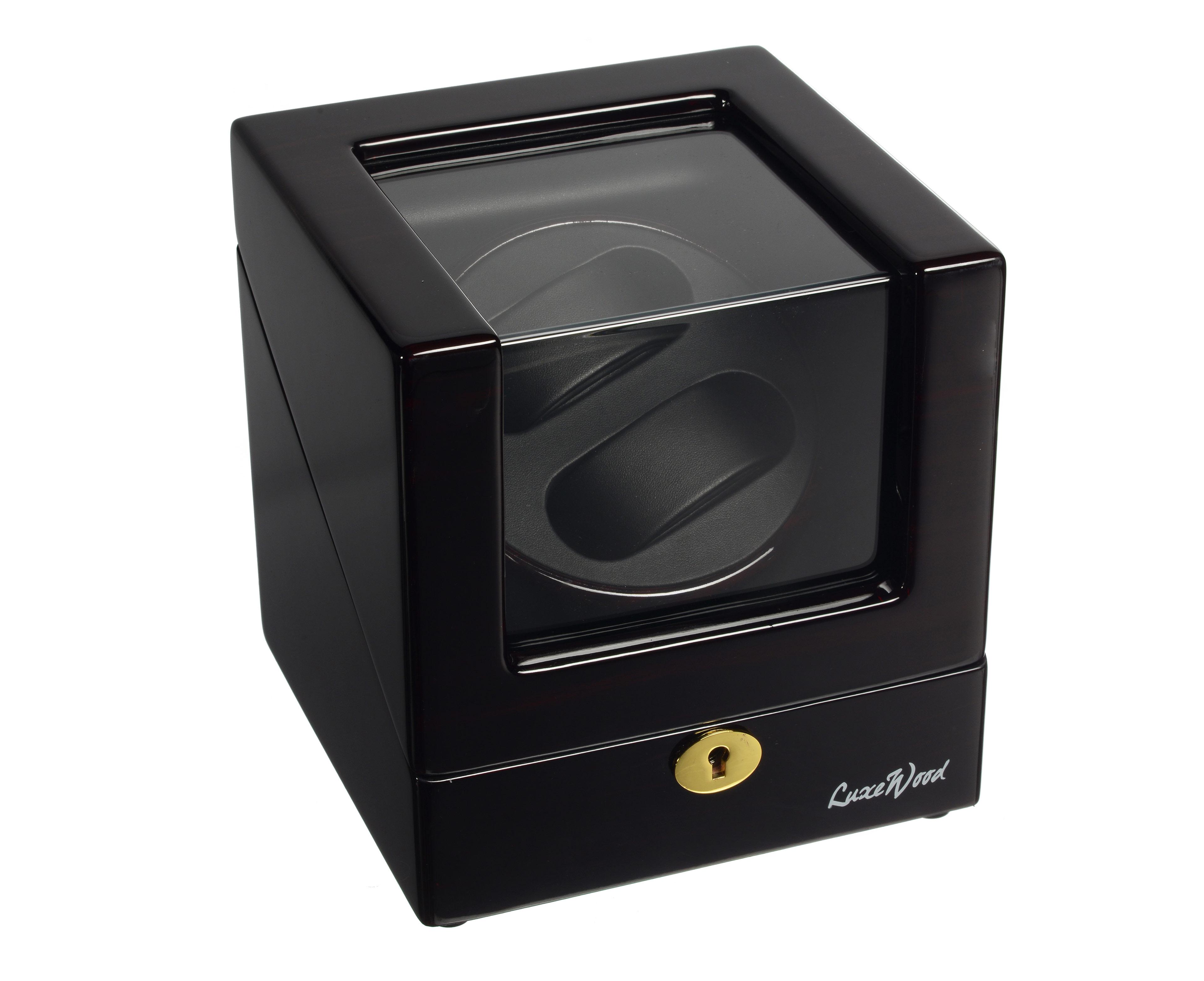 LuxeWood LW1051-51-6 Черная шкатулка с замком и стеклом для подзавода двух часов от LuxeWood