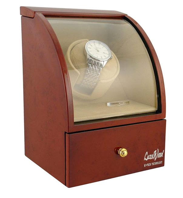 LuxeWood LW321-3 Шкатулка для автоподзавода 1 часов, цвета орех с выдвижным ящиком для хранения драгоценностей