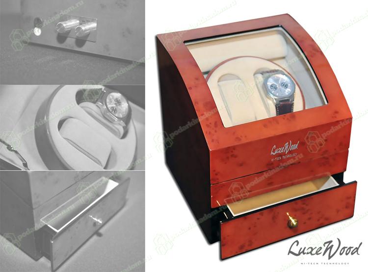 LuxeWood LW721-3 Шкатулка для автоподзавод2часов, работает от сети,покрытие рояльный лак,внутренняя отделка велюр, с выдвежным ящичком