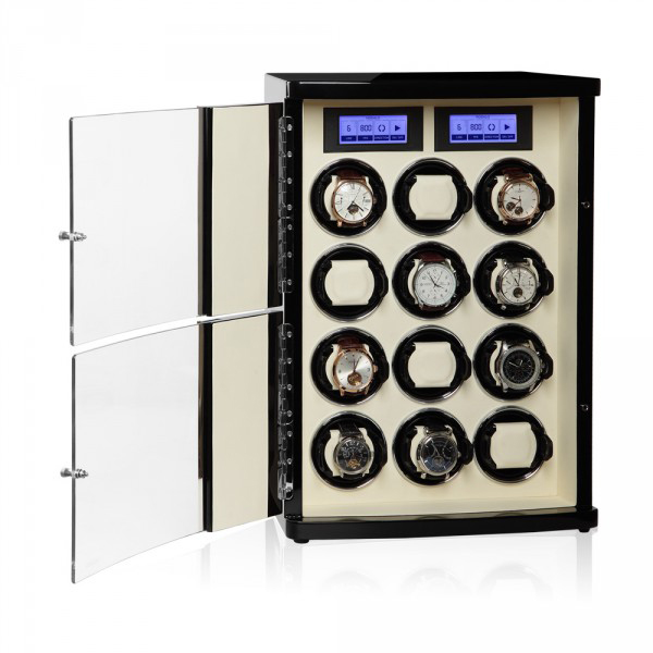 30.12.12.3 Шкатулка для подзавода 12- ти наручных часов. Кожанная отделка и деревянный полированный корпус, сочетают в себе прекрасный дизайн и расширенные функции.