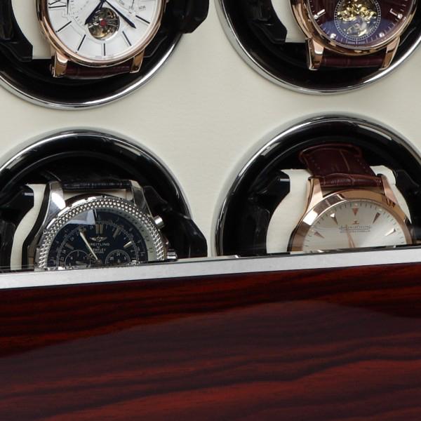 """39.08.62.3 Шкатулка для подзавода 8-ми наручных часов. Выполнена из натурального дерева с отделкой """"Макасар""""."""