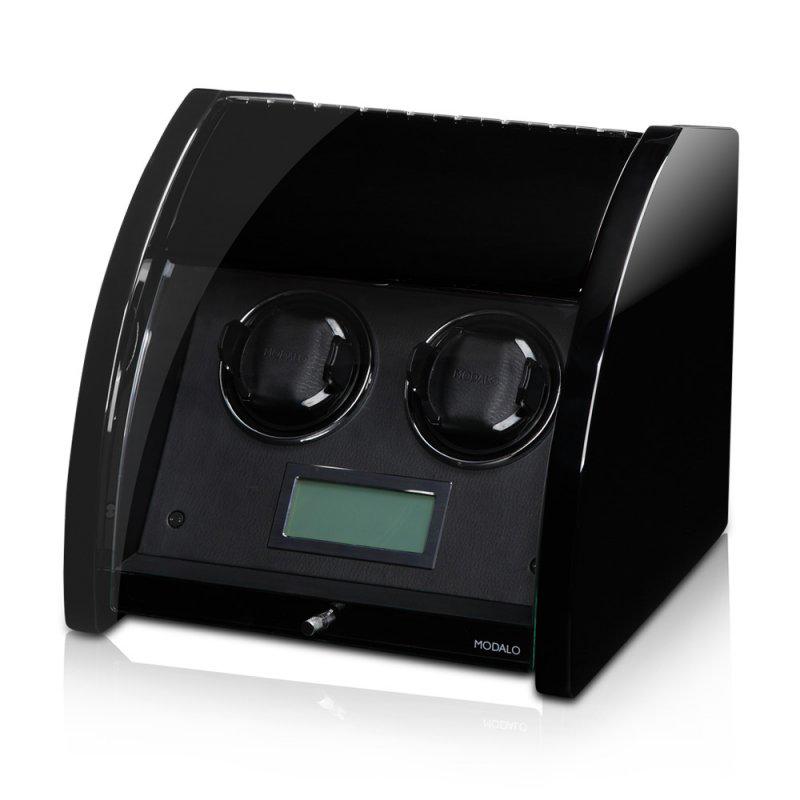 """MAGMA Black Шкатулка для автоподзавода двух часов от немецкого производителя """"Modalo""""."""