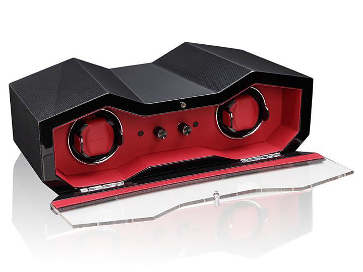 SPORT Carbon/Red Оригинальная шкатулка для подзавода двух часов. Яркий дизайн подчеркивают индивидуальность этого виндера.