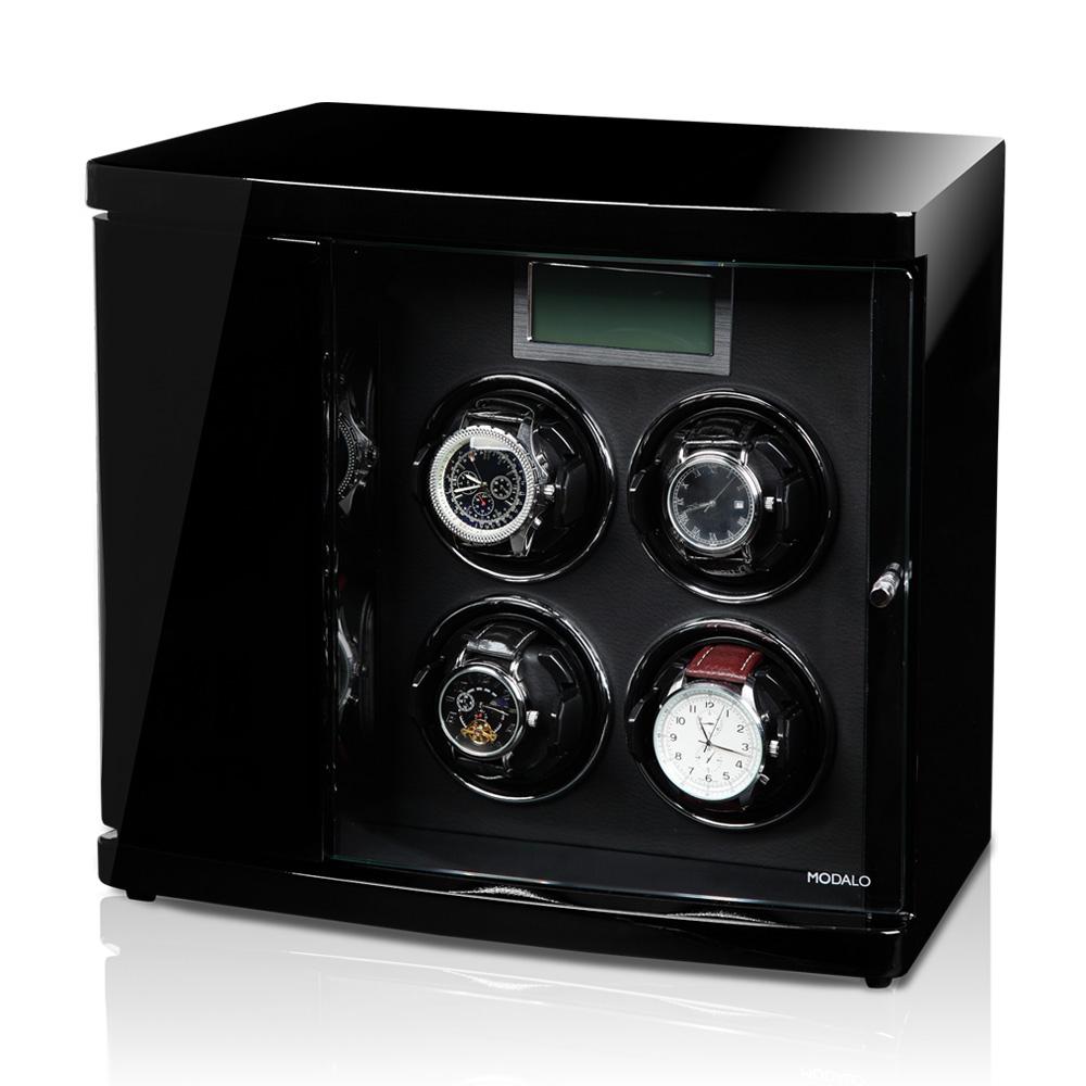 """TIMELESS 4 Black Шкатулка для подзавода четырех часов и хранения 2х от немецкой компании """"Modalo""""."""