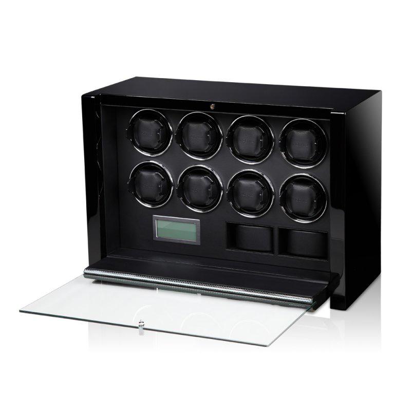 VICTORY Carbon Шкатулка для подзавода 8-ми механических часов и хранения двух, с электронным управлением.