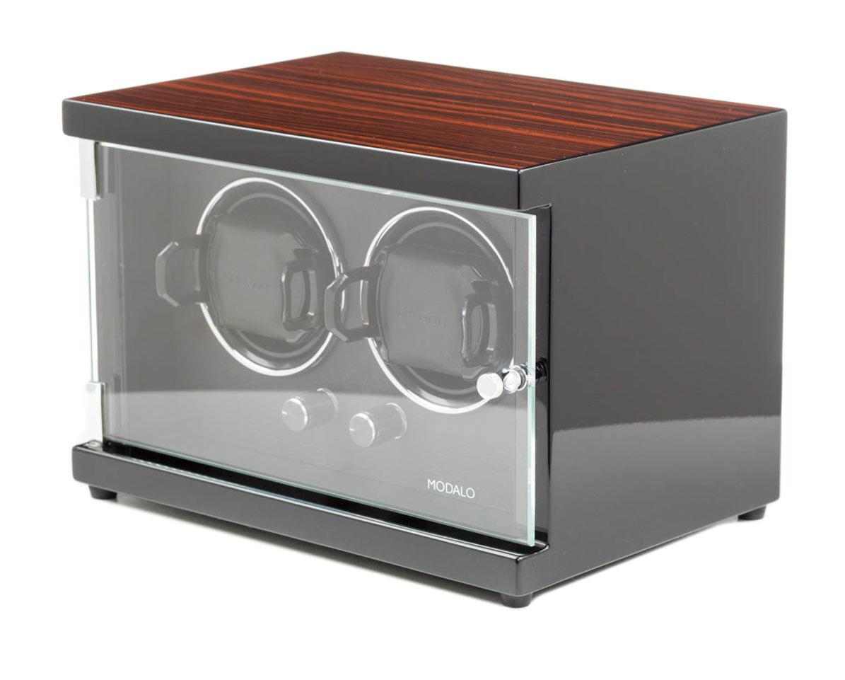 Modalo 15.02.61 Шкатулка для 2 часов с подзаводом. Глянцевый деревянный корпус, внутренняя отделка кожа. Питание – сеть.