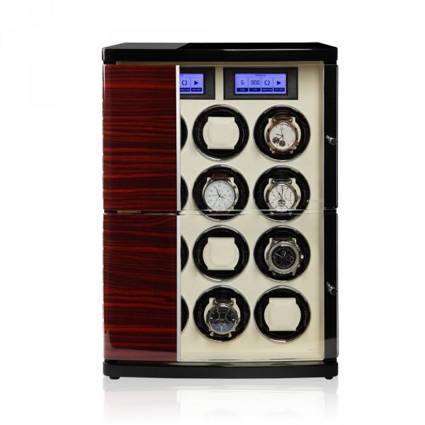 Modalo 30.12.62.3 Шкатулка для подзавода 12- ти наручных часов. Кожанная отделка и деревянный полированный корпус, сочетают в себе прекрасный дизайн и расширенные функции.