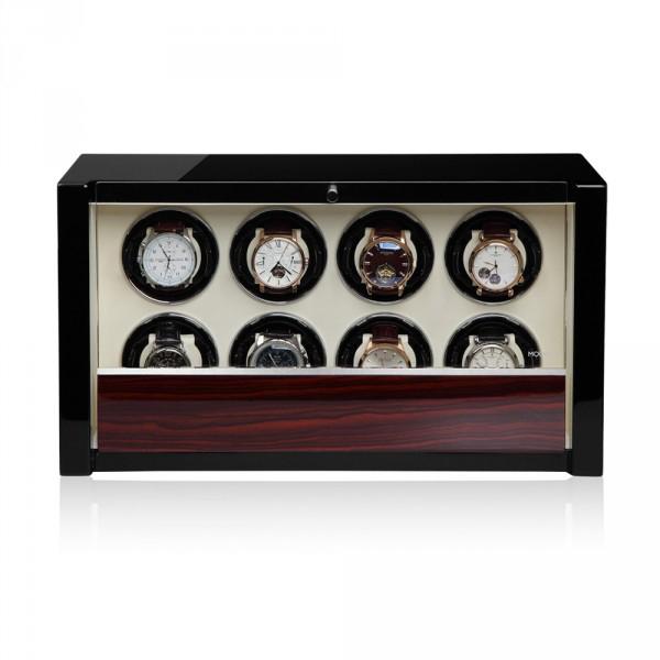 """Modalo 39.08.62.3 Шкатулка для подзавода 8-ми наручных часов. Выполнена из натурального дерева с отделкой """"Макасар""""."""