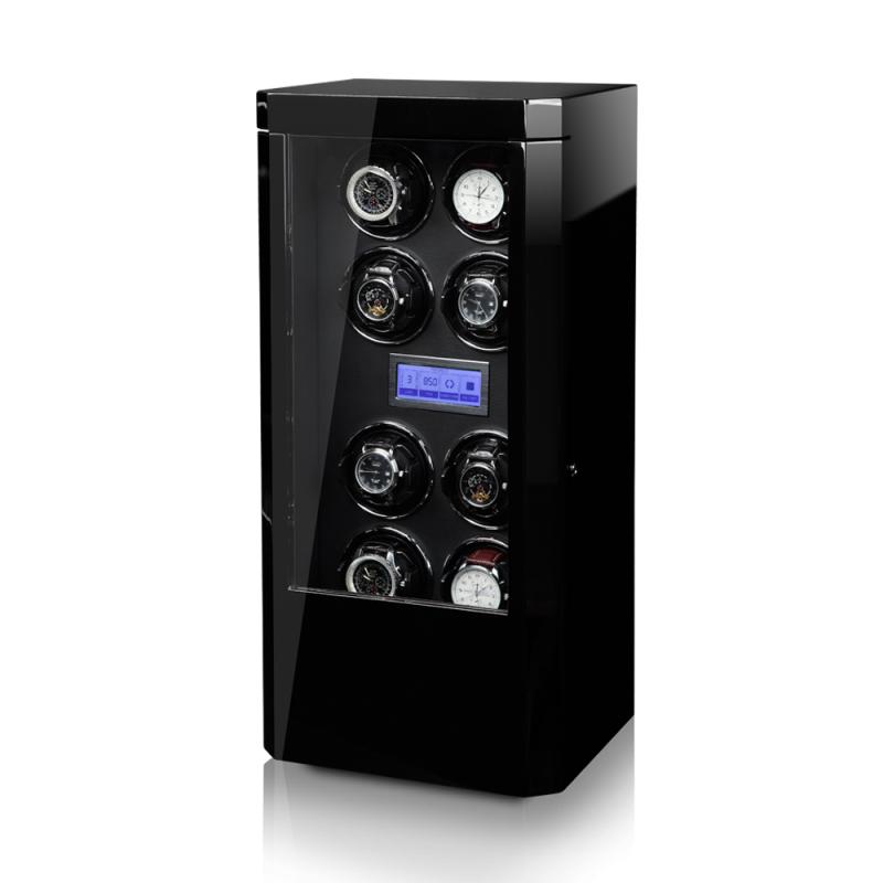 Modalo ROYAL Black Вертикальная шкатулка для автоподзавода 8-ми механических часов, с электронным управлением, выполнена из дерева.