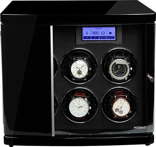 """Modalo 30.06.11.3. Шкатулка с автоподзаводом для 6-ти механических часов, работает от сети и батареек формата """"С""""."""