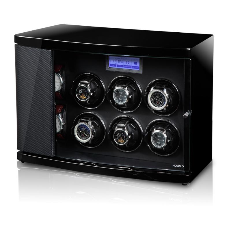 Modalo TIMELESS 6 Сarbon Шкатулка для шести наручных часов с автоподзаводом