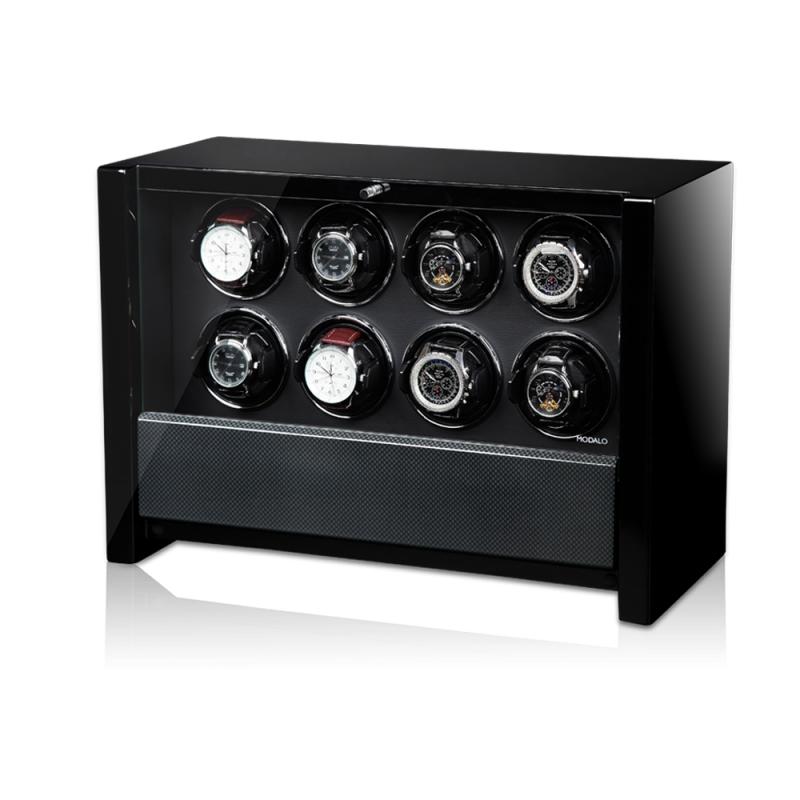 Modalo VICTORY Carbon Шкатулка для подзавода 8-ми механических часов и хранения двух, с электронным управлением.