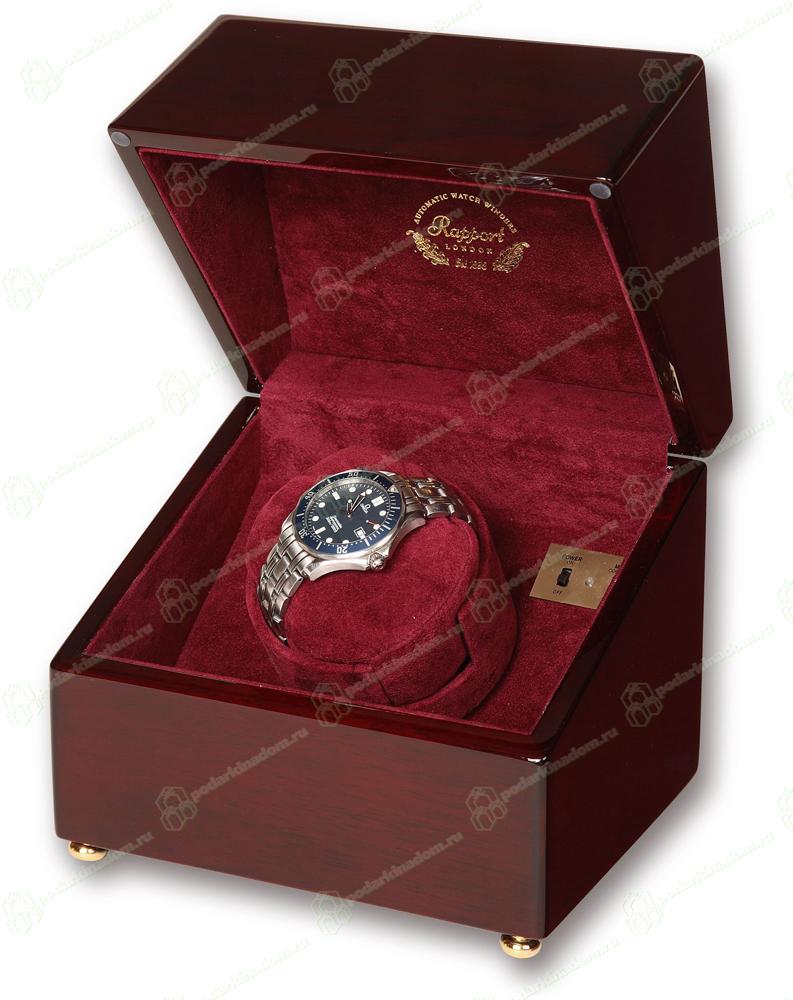 W105 Деревянная шкатулка для часов с автоподзаводом Single Watch Winders, покрыта несколькими слоями лака. Изнутри шкатулка отделана бордовым бархатом