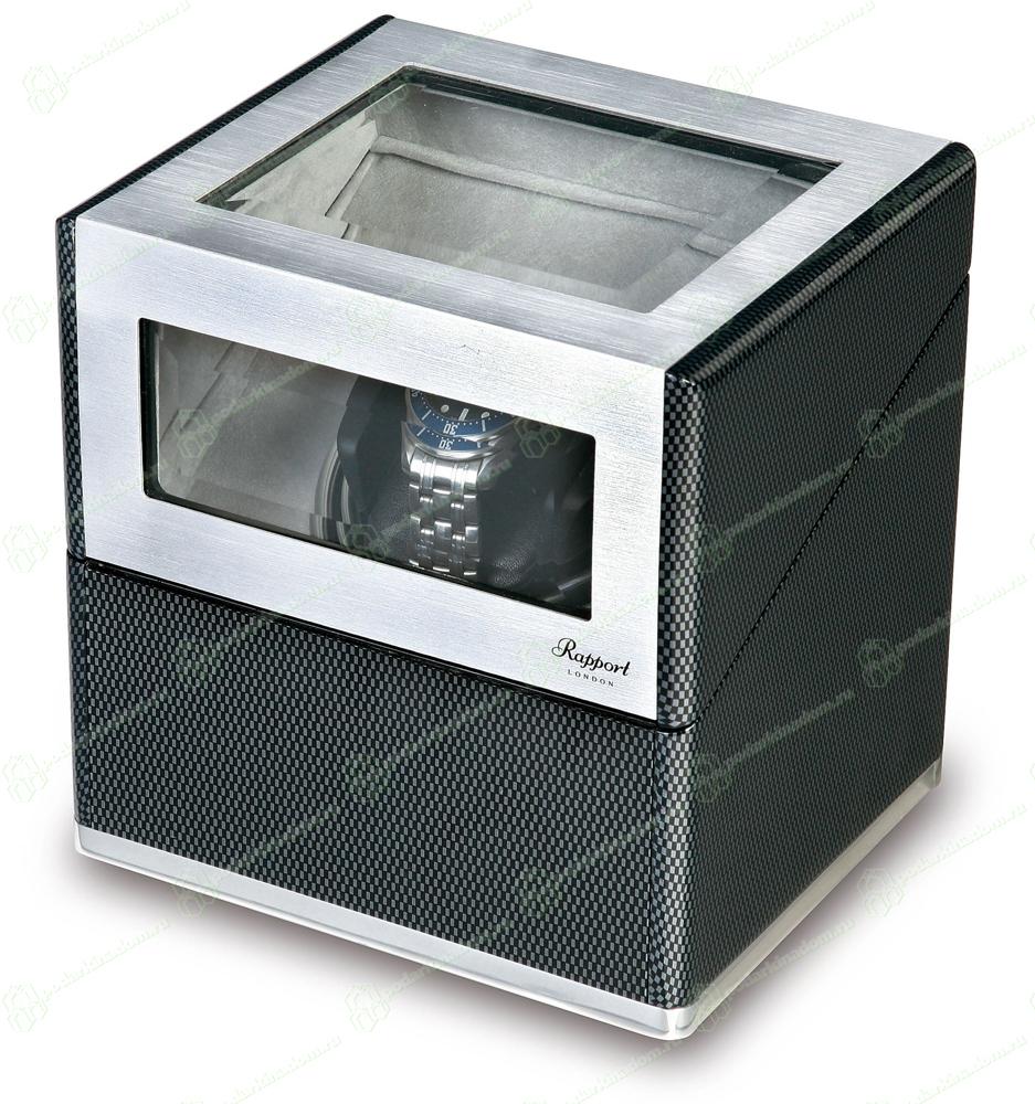 W251 Стильная шкатулка в стиле Hi-Tech от Rapport для одних наручных часов. Отделка карбон и алюминий