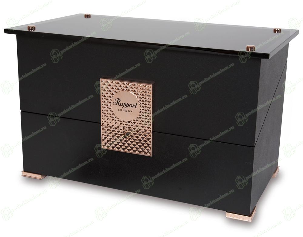 W332 Шкатулка Duo для подзавода 2 часов, из полированного эбенового дерева, детали из розового золота, внутренняя отделка черный вельвет