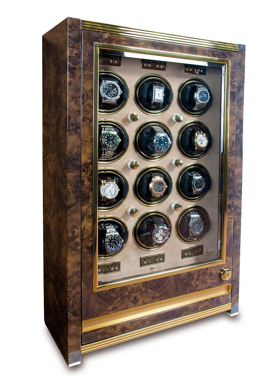 W532 Шкатулка Rapport Paramount Walnut для подзавода 12-ти механических часов с ящиком для хранения часов