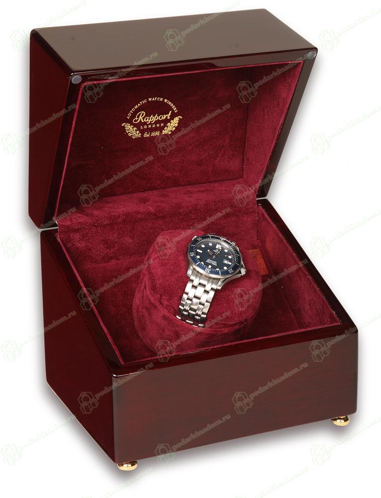 Rapport W105 Деревянная шкатулка для часов с автоподзаводом Single Watch Winders, покрыта несколькими слоями лака. Изнутри шкатулка отделана бордовым бархатом