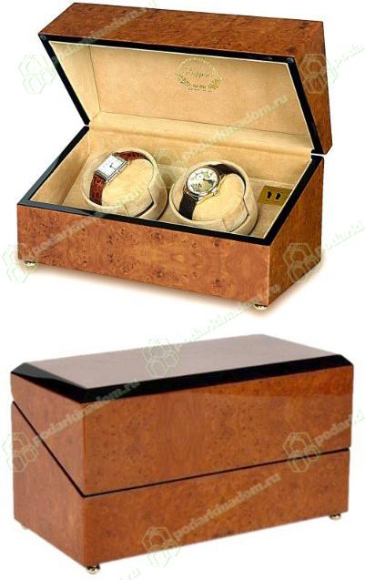 Rapport W202 Шкатулки деревянные Walnut Burr для 2 часов с автоподзаводом от Раппорт. Корпус выполнен из дерева, покрытого 8 слоями лака. Изнутри шкатулка отделана бежевым бархатом