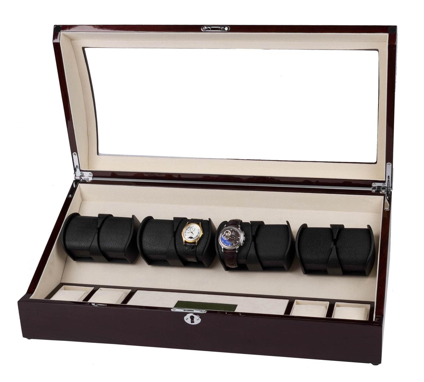 8225-MAC Шкатулка для подзавода 8-ми механических часов, изготовлена из натурального дерева, отделка: лак.
