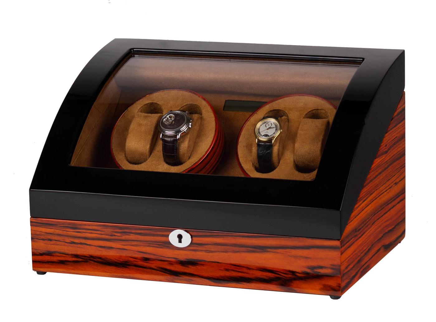 SmartWinder 8078-BZK Шкатулка для подзавода 4-х механических часов изготовлена из натурального дерева.
