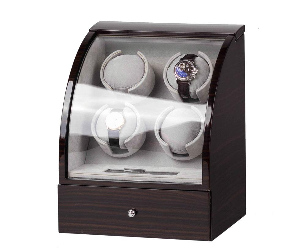 SmartWinder 90324-E Шкатулка для 4-х механических часов изготовлена из натурального дерева.