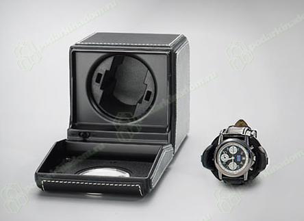 1RTSL Шкатулка для подзавода часов от Итальянской компании Scatola del Tempo для подзавода 1-х часов (черная мягкая кожа)