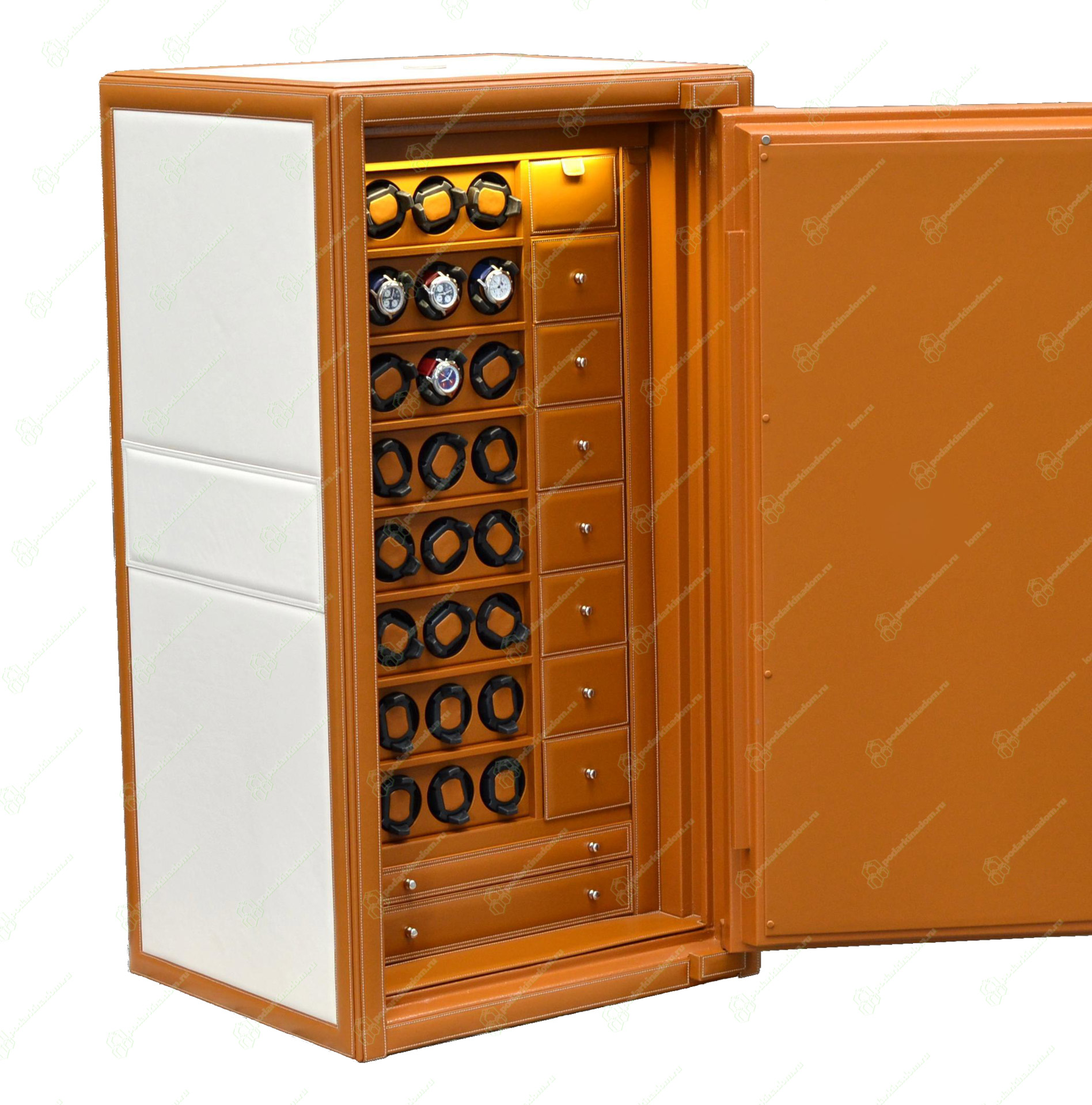 TIMESAFE OS xxl Элегантный сейф для наручных часов, отделан итальянской кожей. Семь дополнительных отсеков для хранения часов + ящики для документов и украшений